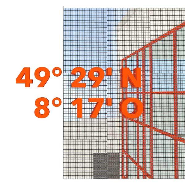 49° 29° N Spiegelmosaik für Maxdorf
